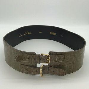 Oscar de la Renta Tan/Olive Patent Belt Size XL